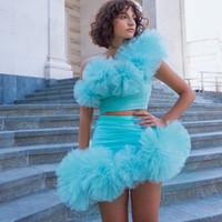 두 조각 짧은 댄스 파티 드레스 여성 파티 스카이 블루 한 어깨 민소매 Tigxht 동성애자 미인 드레스 착용