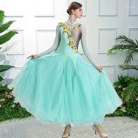 Etapa desgaste Baile Baile Baile Concurso Trajes Dancing Vestido Estándar Mujer Viena Waltz Vestidos de Foxtrot Green1