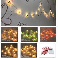 Luzes de Natal LED 2M 20led String Santa Claus Black Hat Boneco De Neve Deer Cabeça Decoração de Natal LuzesXmas Presente Ano Novo HH9-3685