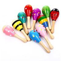 Juguetes para niños Maracas de madera Niño Niño Instrumento Musical Turquete Maracas Cabasa Arena Hammer Orff Instrument Toy YHM620