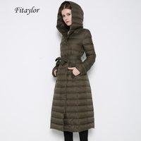 Fitaylor Yeni Kış Kadın Ultra Işık Ördek Aşağı Uzun Ceket Tek Göğüslü Artı Boyutu Sıcak Kar Dış Giyim Slim Kapüşonlu Parkas 201103