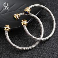 Kablo Bayan Paslanmaz Çelik Tel Bilezik Titanyum Çelik Altın Kakma Matkap C Tipi Açık Bilezik F1130