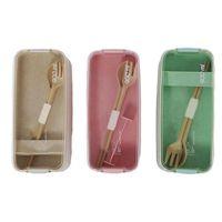 Botellas de almacenamiento JARS Portátil Microondas Caja de almuerzo con tenedor y cuchara Material de paja de trigo saludable L5YE