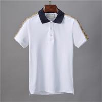 الرجال قصيرة الأكمام قميص بولو عارضة الرياضة البولو بطانة الرجال الأزياء تصميم بولو قميص الأزياء رسائل جديدة تي شيرت
