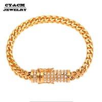 Link, chaîne CYCM 6mm franco link bracelet complet glacé en strass boîte en fermoir en acier inoxydable en acier inoxydable HIP hip hop