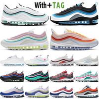 2021 Almofada de Qualidade superior 97 mens Sapatos Aqua Aurora Aurora Verde Reflexivo 97s Black Bullet Páscoa EUA Mulheres Sneakers Treinadores Tamanho 36-45