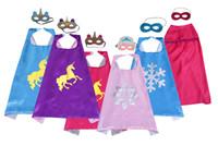 Juego de máscara y máscara de superhéroes de unicornio de doble capa de estilo múltiple 70 * 70 cm niños para niños Vestido de lujo de satén Halloween Cosplay disfraces Favoritos