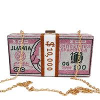Crystal Boîte Embrayages Rose Dollar Money Designer Sac à bandoulière pour dames Chaîne Bandoulière Banque Sacs de soirée Y1222 x1228