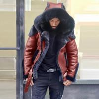 WEPBEL Мужские кожаные куртки мотоцикла плюс размер искусственного меха Пальто с капюшоном Пальто Zipper Карманы Мужской Vintage PU пальто Верхняя одежда