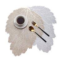 Placemat mesa de comedor montañas hoja simulación planta pvc café taza mesa tapete hueco cocina navidad casa decoración regalo gwa7126