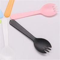 Tenedor de frutas desechables portátiles de plástico espesado postre tenedor cuchara pastel de fiesta ensalada de ensalada accesorios de cocina vegetación 129 k2