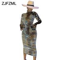 Kadın Elbiseler Zebra Baskılı Seksi Maxi Elbise Yüksek Boyun Uzun Kollu Skinny Paketi Kalça Elbise Artı Boyutu Parti Kulübü Bandaj Elbise