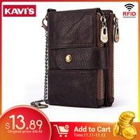 Kavis 100٪ جلد طبيعي RFID محفظة الرجال مجنون الحصان محافظ عملة محفظة قصيرة الذكور حقيبة المال مصمم مصمم البسيطة واليت الصغيرة