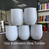 12oz branco branco sublimation copos de vinho 12oz de parede dupla resistindo isolado DIY foto de impressão de fotos