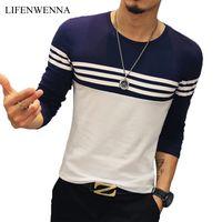 Automne Casual Hommes Mode Striché O Cou Cou Longue Manches T-shirt Pour hommes Slim Fit Hommes Vêtements Trend Hip Hop Top Tees 5XL C0119