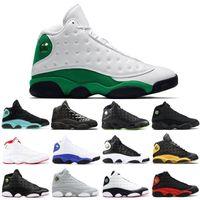 جودة عالية 13 كاب و ثوب محظوظ جزيرة جرين الأخضر بليد أسود القطف اوف الذئب رمادي الرجال النساء أحذية كرة السلة 13S أحذية رياضية