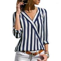 Женщины полосатые блузки рубашки с длинным рукавом блузка V-образным вырезом рубашки повседневные вершины для Office Lady 2019 New1