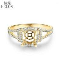 Helon redondo 6mm sólido 10k amarelo ouro natural diamante semi montagem configuração anel de noivado mulheres na moda jóias fina presente1
