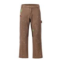 Граффити окрашены широкие брюки для ног Брюки Мужская уличная одежда прямые повседневные джинсы Harajuku промытые ретро свободные джинсовые брюки