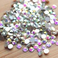 Decoraciones de arte de uñas 1440 unids AB Crystal Strass 3D Rhinestone (SS3-SS20) Plateado Flatback Glass Diamond Design Manicure Accesorio