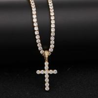 Hombres Mujeres Gold Silver Copper Material Iced Out Zircon Cross Colgante Collar Cadena Moda Hip Hop Joyería