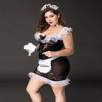 Nowy Duży Fat Lady Maid Uniform Set Plus Size Cosplay Czarna Pięć Bielizna Dla Kobiet Erotic Porno Hot 01 #