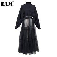 [EAM] Женщины Black Hem Сетка Сплит Большой Размер Блуза Новый Стенд Воротник С Длинным Рукавом Свободная подходящая Рубашка Мода Весна Осень LJ200815