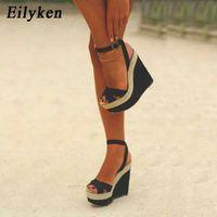 Eilyken Mode Frauen Sommer Schnalle Strap Freizeitplattform Sandalen Keile High Heels 15 cm Schuhe Q1217