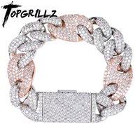 TOPGRILLZ MIAMI LOCK CLAP CUBAN LINK 7 8 9 дюймов Золотой серебристый браслет замороженный кубический Zircon Bling Hip Hop для мужчин ювелирные изделия Y1125