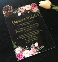 Grußkarten Babyparty-Einladungen, 10pcs Acryl-Hochzeits-Einladungen, benutzerdefinierte Einladungen, Abschlusseinladungen, Umschläge