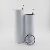 20 oz dünne Tumbler leerer Sublimation Slim Becher DIY Edelstahl Doppelwand Vakuum mit Dichtungsdeckel und Stroh