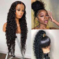 360 frontal 28 30 polegadas ondas de água 13x4 lace dianteira perucas de cabelo humano profundamente encaracolado Virgin Brazilian Wig