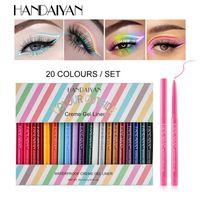 Handaiyan 20 Couleur Automatique Eyeliner Stylo Set Set Eyeliner Crayon Étanche Rotate Crème Gel Doublure Haute Pigment Pigment de maquillage de longue durée durable