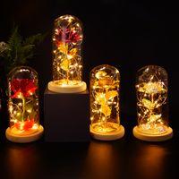 Romantizm Ebedi Yaşam Çiçek Cam Kapak Güzellik Ve Beast Gül LED Pil Lambası Doğum Günü Sevgililer Günü Mevcut Anne Hediyeler