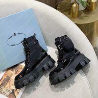 Femmes élégantes Bottes Martin Bottines Monolith Nylon Bottines Hiver Luxurys Designers Chaussures Chaussures Brossé Roi Roi Bottillons Gabardine 20122501L