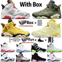 Kutu 2021 ile Yüksek OG Jumpman UNC 6 6 S Erkek Basketbol Ayakkabıları Çiçek Hare Travis Scotts Siyah Kedi Oregon DMP Spor Eğitmenleri Sneakers Boyutu 13