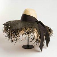 حافة واسعة القبعات الصيف مصمم نمط الفاخرة المتضخم الطنف قبعة الرافية اليدوية طبقة مزدوجة اللون مطابقة القش المرأة شاطئ الشمس
