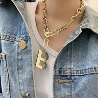 Nuevo exagerado b letra colgante collar collar ancho mujer hip hop de cadena gruesa gargantilla cadena de clavícula letra colgante regalo