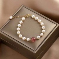 Beaded BraceletNew 14k Gold Freshwater Pearl Strawberry Crystal Armband Simple Gift String Small Girlfriends