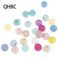 QHBC 200 pcs silicone 9mm contas redondas para jóias fazendo bebê teether dentether colar de pingente acessórios diy pacifier cadeia 201123