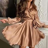 Seksi Saten Sashes Bir Çizgi Robe Mini Elbise Fener Kollu Düşük Kesim Zarif Parti Kulübü Artı Boyutu 2021 kadın Giyim Vestidos