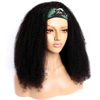 Kafa Bant Peruk Hint Afro Kinky Kıvırcık İnsan Saç Peruk Modern Gösterisi 10-26 Inç Kafa İnsan Saç Peruk Siyah Kadınlar için