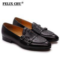 Felix Chu clássico cinta monge mens loafer Genuine couro cavalheiros festa de casamento sapatos casuais preto deslizamento no vestido masculino sapatos lj201015