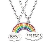 2 unids / set Rainbow Collares Joyas Mejores amigos Collar de esmalte Puzzle Rainbow Cloud Colgante Collar de amistad Regalos de joyería