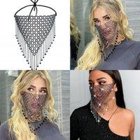 Mascarilla de cuerda ajustable de metal tejido de la cara Rhinestone Borlas de cristal de la boca Cubierta de la boca de las mujeres Máscaras Accesorios de moda 15SK G2