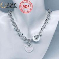 AMC TIFF 925 Collar de plata esterlina amor corazón elegante moda gruesa cadena noble joyería al por mayor