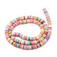 Другое 20 Strand / Pack 6 мм плоский круглый полимерный глиняный бусин для ручной работы DIY браслет ожерелье ювелирные изделия
