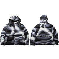 Мужчины хип-хоп Parka куртка уличная одежда градиентная печать куртка с капюшоном ветровка Harajuku хлопок зима мягкая куртка пальто тепло
