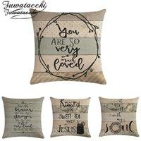 Coussin de coussin de style Nordic Fuwatacchi Vintage lettres oreiller de linge Couvre-oreillers Ferme Art Frowe Farmers Taie d'oreiller pour la décoration de canapé à domicile