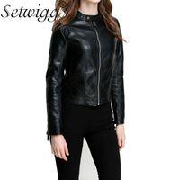 Damen Leder Faux Setwigg Autumn Womens Hohe Qualität Motorradjacken Stehkragen Reißverschluss Slim PU Kurze Blazer Oberbekleidung